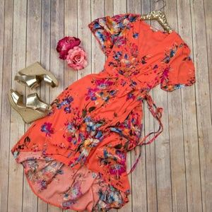 Dresses & Skirts - Orange Floral Wrap Dress
